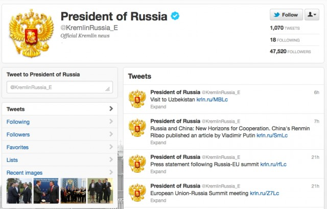 The Kremlin is very active on Twitter, even in English.