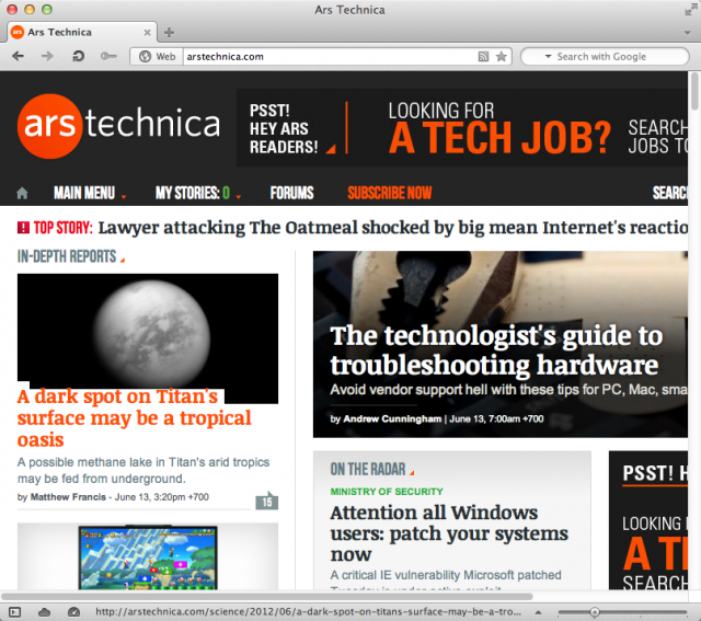 Browsing Ars Technica in the new version of Opera