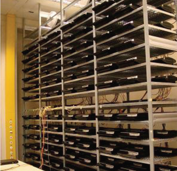 A cluster of 200 PlayStation 3 consoles used in 2008 to find a cryptographic  collision in the MD5 algorithm.
