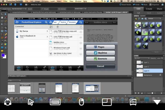 Wyse's PocketCloud Remote Desktop on the iPhone, here shown editing an image in Photoshop.