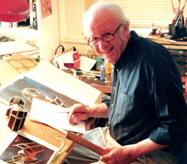 Ralph McQuarrie at work in his studio.