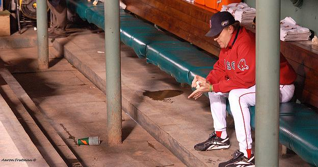 Curt Schilling before pitching his final World Series game for the Boston Red Sox.