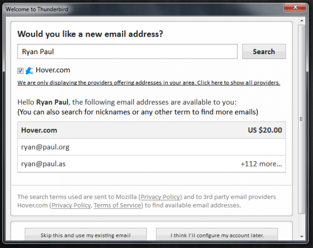 Personalized e-mail feature in Thunderbird 13 lets users register a domain name