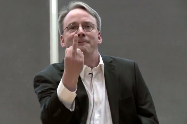 Linus Torvalds giving NVIDIA a single-digit salute.