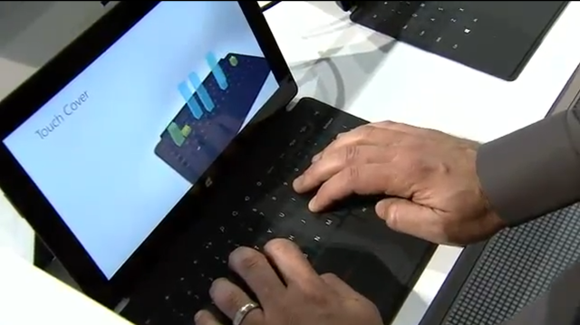 Microsoft's Panos Patay shows how the Touch Cover can read different amounts of force on different keys.