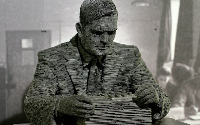 Alan Turing slate statue at Bletchley Park museum