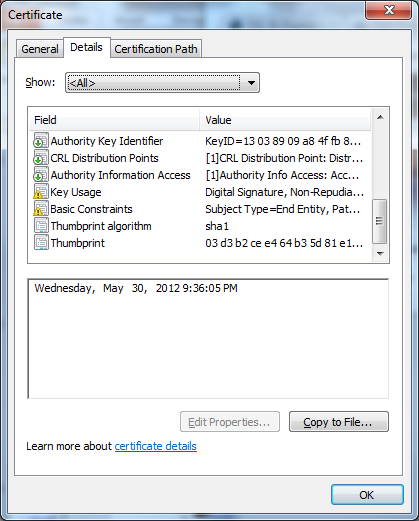 The SSL certificate for update.windows.com as viewed by the Windows Certificate viewer.