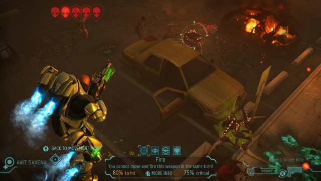 Just one of the dramatic camera angles that spices up the familiar tactical gameplay of <i>XCom: Enemy Unknown</i>