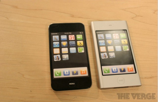 "Early iPhone prototypes from 2006 show a ""Sony-inspired"" design (left) compared to an iPod mini-like design (right)."