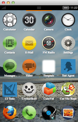 The Firefox OS home screen running in the B2G nightly on Mac OS X