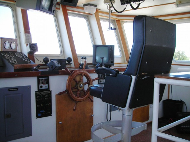 The captain's seat in the Monterey Bay Aquarium Research Institute's new vessel, the Rachel Carson