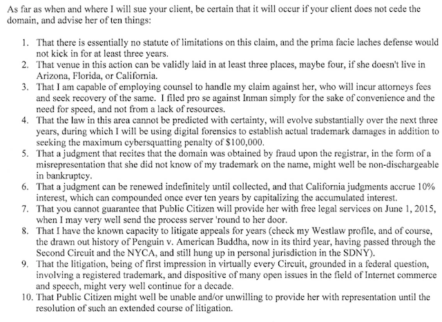 Charles Carreon's plan to sue Satirical Charles, as conveyed in a letter to attorney Paul Levy.