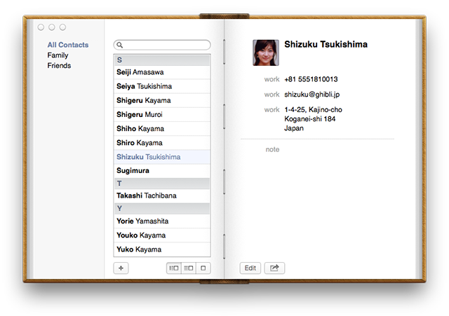 Contacts: three-pane view restored, mysterious red bookmark expunged…but it still looks like a book.