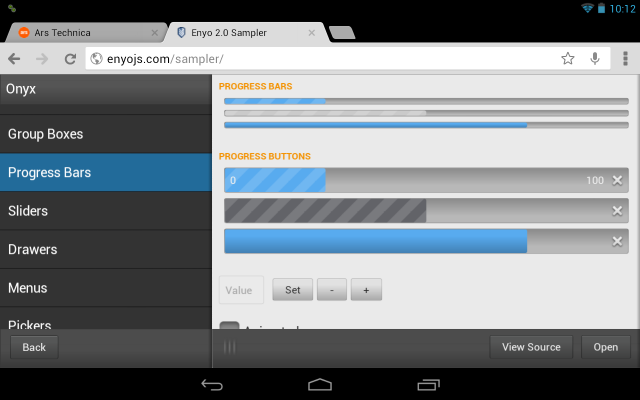 The Enyo sampler application running in Chrome on the Nexus 7.