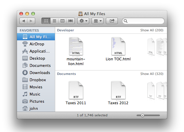 'All My Files' is true to its word, iCloud included.