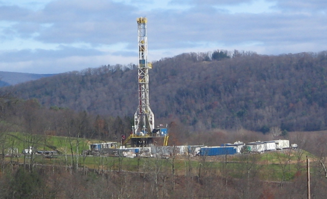 A fracking rig targets the Marcellus Shale.