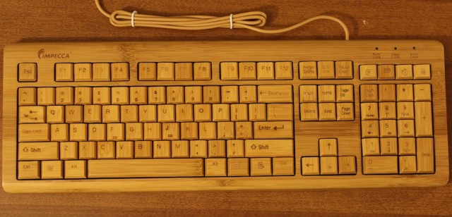 Impecca's KBB500 bamboo keyboard has a distinctive look, but otherwise doesn't have many frills.