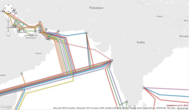 Much of Oman's Internet traffic is routed through India, as well as the Suez Canal.