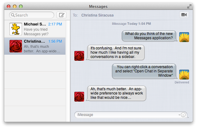 Messages replaces iChat. One window replaces many. Confusion replaces familiarity.
