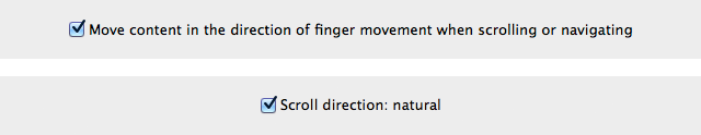Two different ways of phrasing OS X's scroll direction settings, Lion on top, Mountain Lion on the bottom.