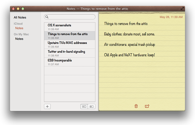 The new Notes application, featuring leather, yellow legal paper, torn edges, and oh yeah, iCloud integration.