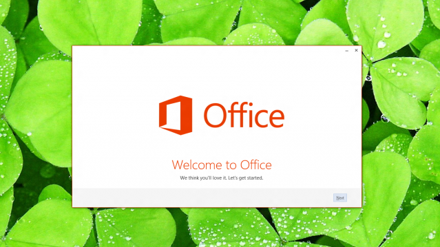 The opening splash for Microsoft's streaming install for Office 2013 is confident you'll love it.