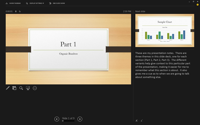 PowerPoint's new Presenter view showing what's now and next, along with slide notes.