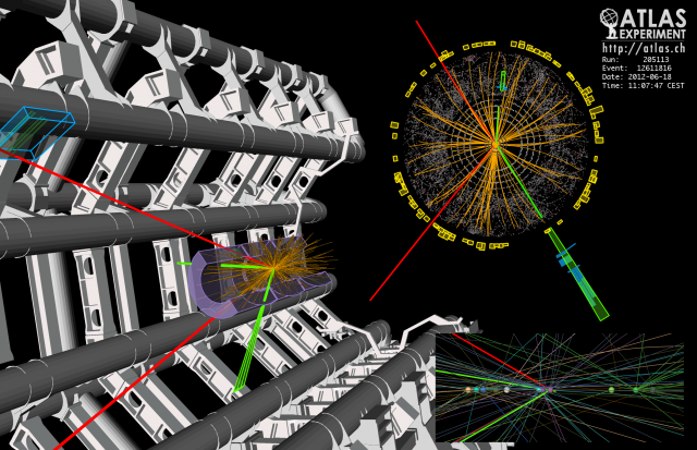 A four-lepton decay, a possible sign of the Higgs, seen by the ATLAS detector.