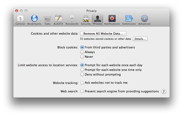Safari's new privacy settings, both off by default.