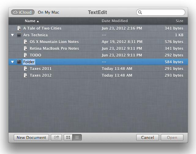 iCloud open/save dialog box, list view, folder just created.