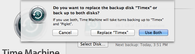 Time Machine can now back up to more than one volume.