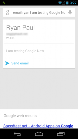 Sending en e-mail with Google Now.