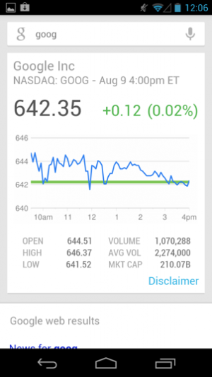 Getting Google's share price from Google Now.