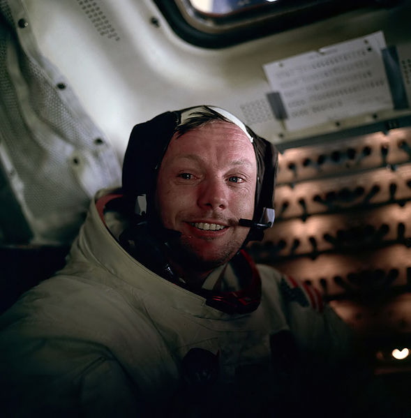 Neil Armstrong onboard Apollo 11's return to Earth