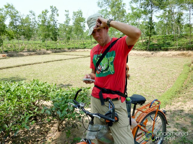Daniel Noll, half of the Uncornered Market travel team, used an iPhone to locate himself outside Srimongal, Bangladesh