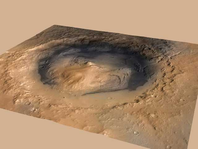 The science target: Gale Crater with its central peak, Mt. Sharp, in the center. Follow this picture to see Curiosity's revised landing ellipse.