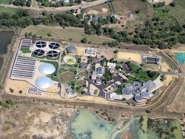 Wastewater treatment plants, like this one in Boulder Colorado, could become a energy neutral, or a source of valuable chemicals.