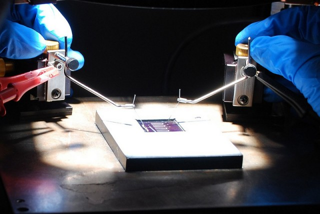 IBM's thin film device under test.