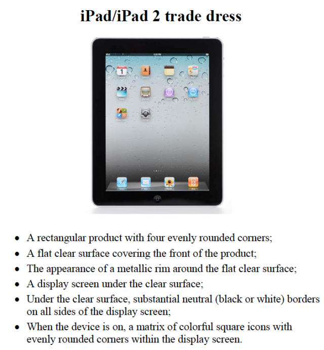 "Apple argues that ""trade dress"" similarities make Samsung products indistinguishable from iPads."