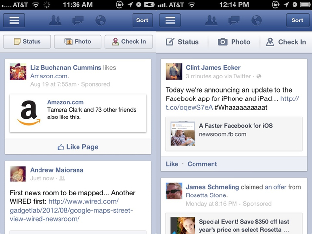 Facebook's old interface on the left versus the new one on the right. Looks very similar, doesn't it?