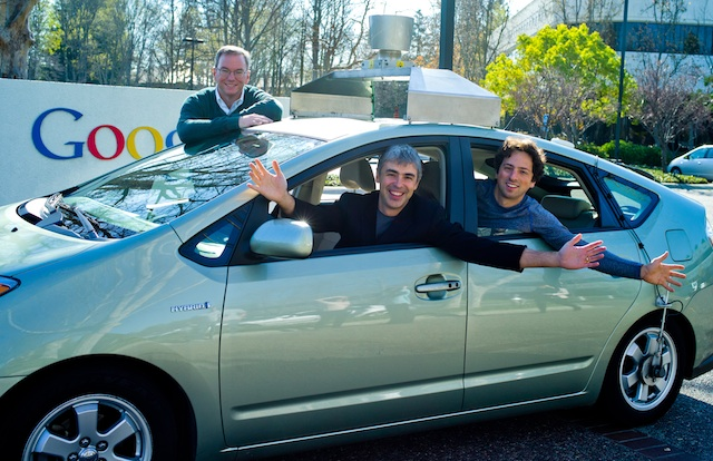 Google bosses in one of the company's autonomous cars back in 2011.