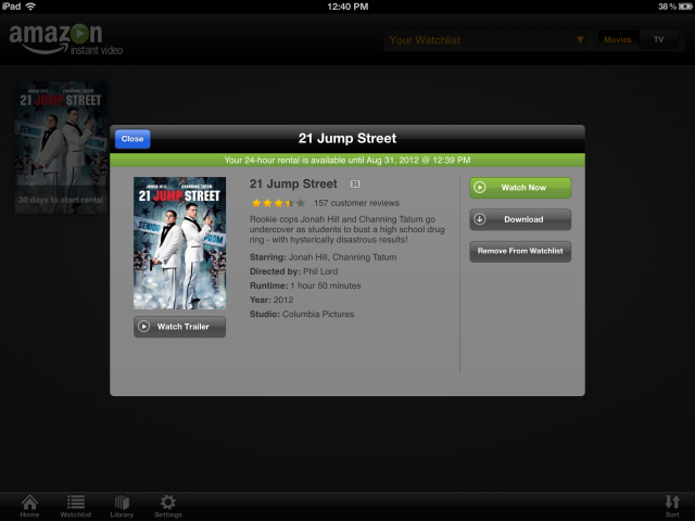 Once purchased via Amazon's website, you can stream or download paid content via the Amazon Instant Video app.
