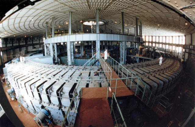 The synchrophasotron at the Joint Institute for Nuclear Research in Russia - a particle accelerator used to create very heavy nuclei.