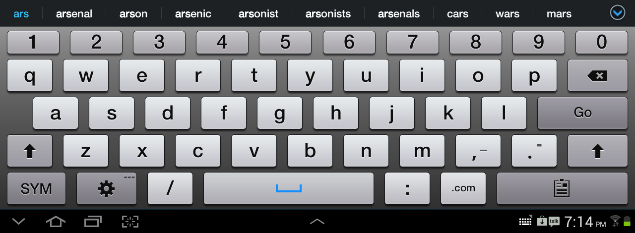 The Note 10.1's stock keyboard includes typing suggestions and Swype support, as well as a persistent row of numbers.