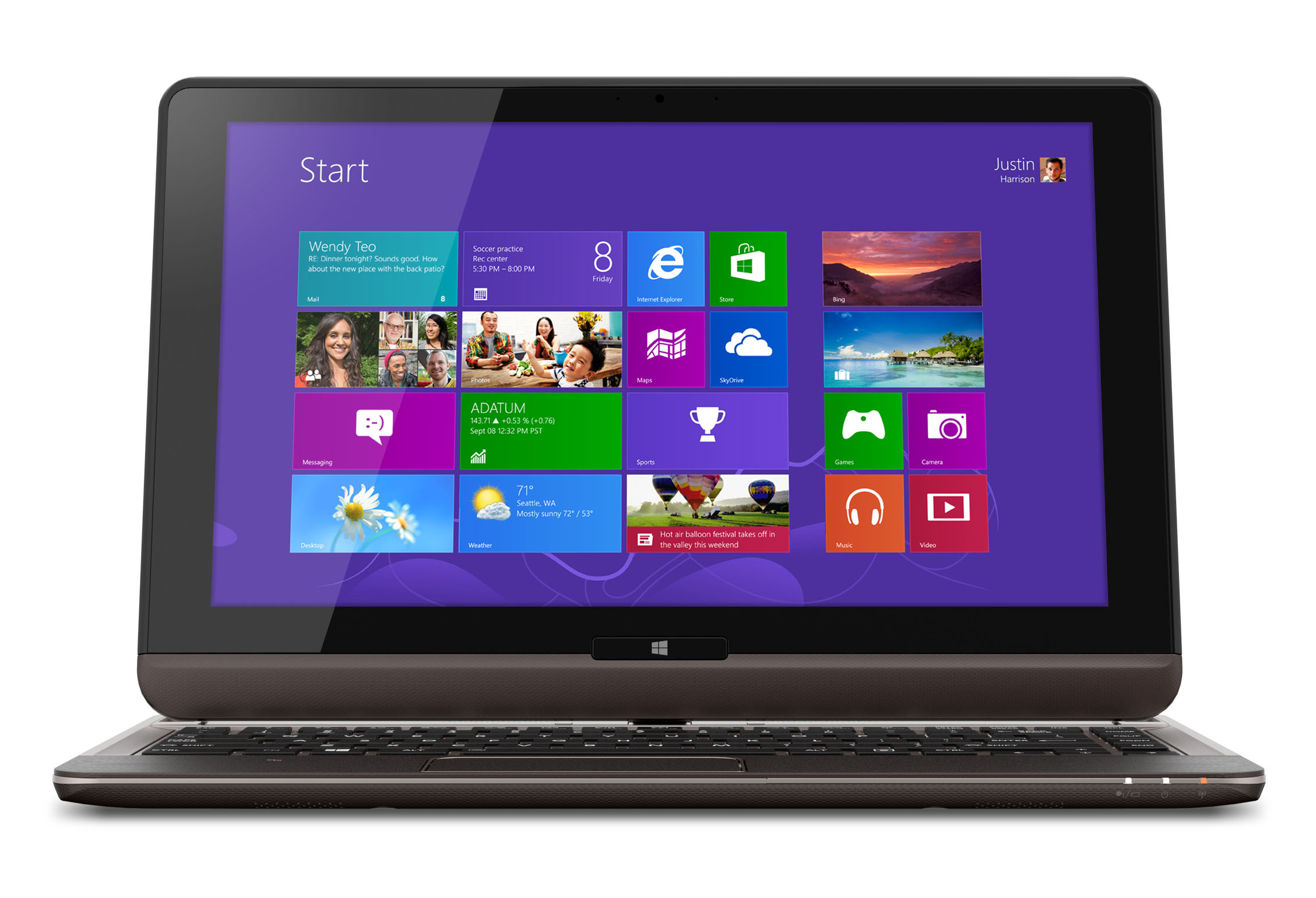 Toshiba's Satellite U925t convertible is 19.8mm thin and weighs 1.45kg, or 3.2 pounds.