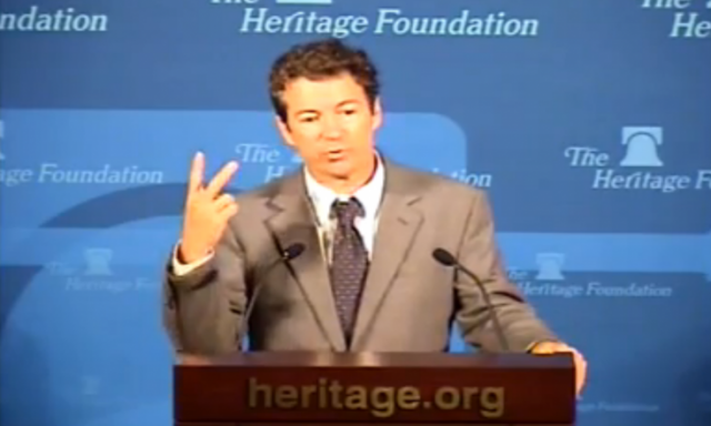 Sen. Rand Paul (R-KY) speaks at the Heritage Foundation on Thursday.