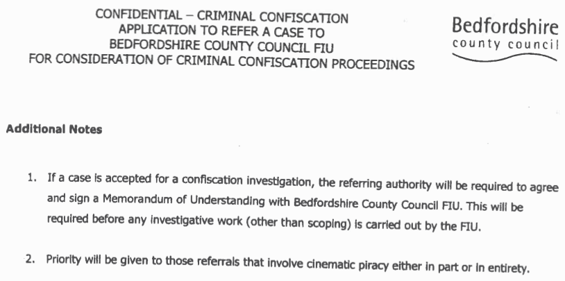 The instructions of the BTSFIU asset confiscation form notes that priority is given to piracy cases.