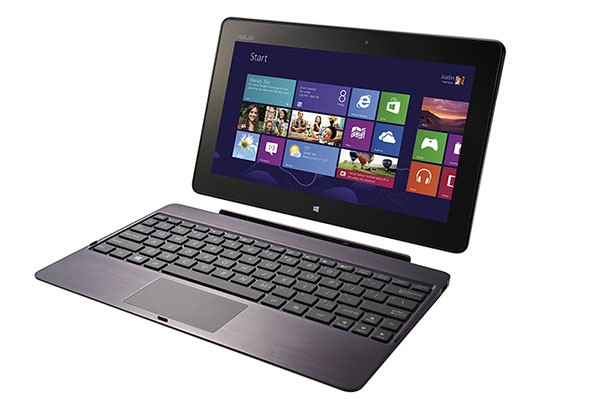 The Asus Vivo Tab is 8.7mm thick and weighs 675g, or 1.49 pounds, without its keyboard dock.