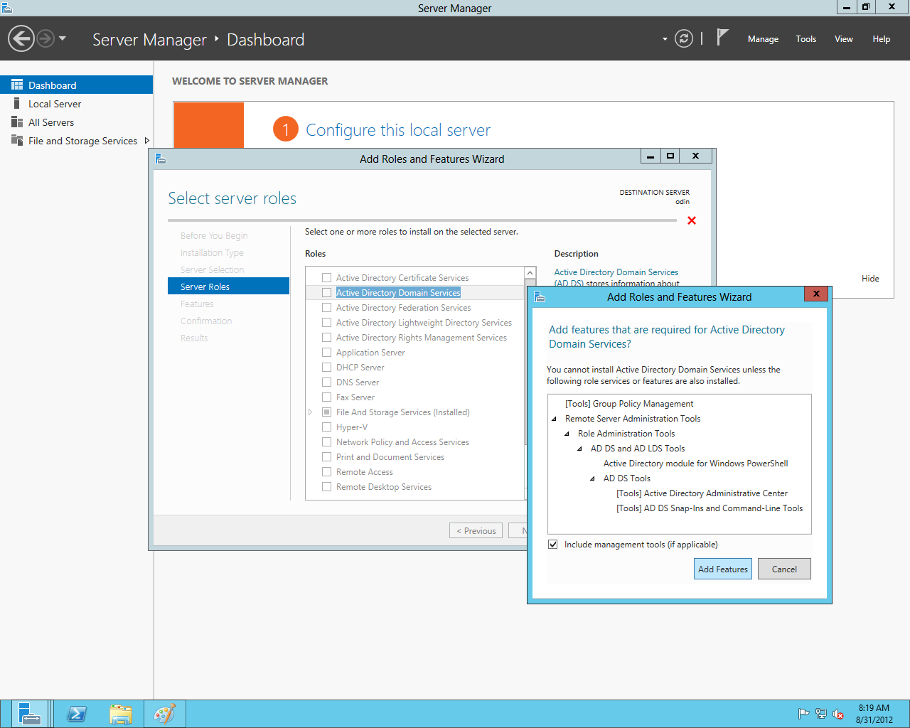 The Add Roles and Features wizard in Server 2012, configuring Active Directory on a remote server.