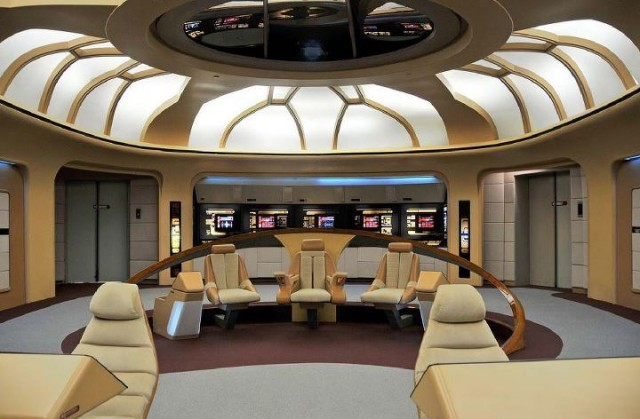 The bridge from the <em>Experience</em> show, while close to the original, lacked seats on either side of the first officer and counselor's chairs.